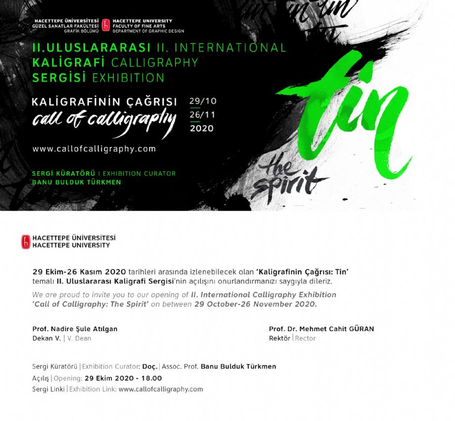 II.Uluslararası Kaligrafi Sergisi Kaligrafinin Çağrısı: Tin - II. International Calligraphy Exhibition Call of Calligraphy: The Spirit - NEWS - Banu Bulduk Türkmen Portfolio